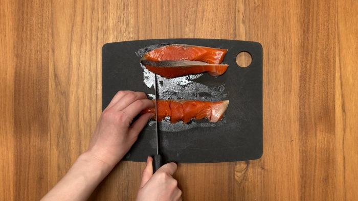 鮭の炒り卵おじや 鮭をカット